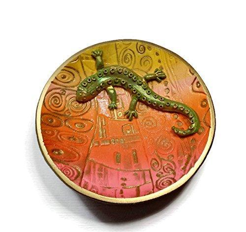 (Lizard Desert Sunset Ring Dish Handmade Jewelry Holder Trinket Dish Polymer Clay Dish Bowl Home Decor Jewelry storage)