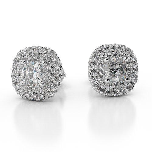 Or blanc 18carats 0,86CT G-H/VS sertie de diamants taille ronde Halo Boucles d'oreilles Agder-1014
