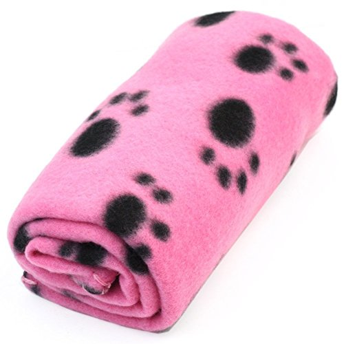 HIGHROCK Pet Dog Cat Puppy Kitten Soft Blanket Doggy Warm Bed Mat Paw Print Cushion (Pink)