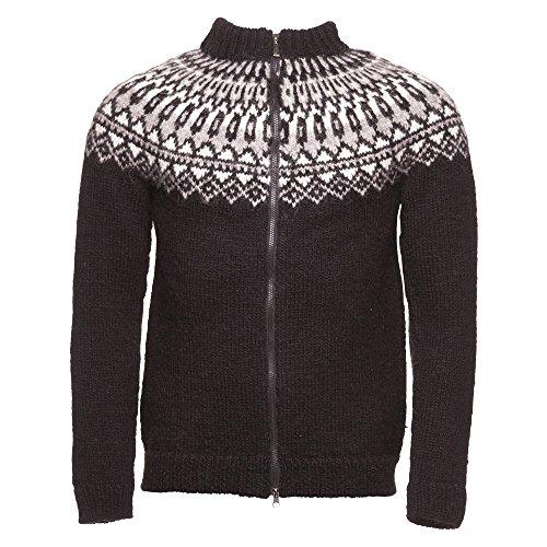 ICEWEAR Elis Men's Sweater Lopapeysa Design 100% Icelandic Wool Long Sleeve Winters Full Zip Sweater   Black - Small