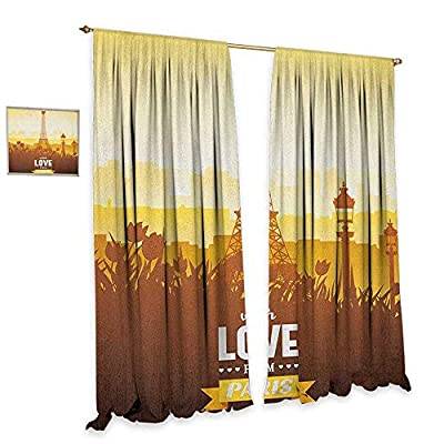 homefeel Paris Window Curtain Drape Eiffel Tower with Tulip and City Silhouette Nostalgic Town Floral Romantic Decor Curtains by Orange Yellow Brown