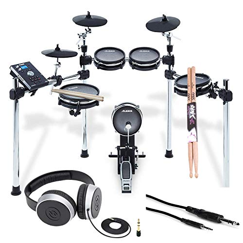 (Alesis COMMAND MESH KIT Eight-Piece Electronic Drum Kit with Pair of Drumsticks + Samson SR550 Studio Headphones + Hosa 3.5 mm Interconnect Cable, 10 feet - Deluxe Accessory Bundle)