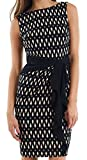 Joseph Ribkoff Black & Tan Sleeveless Geometric Print Dress Style 153773 - Size 8