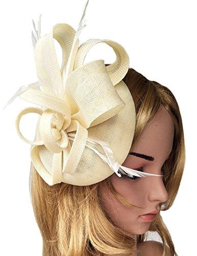 Biruil Women s Fascinator Hat Imitation Sinamay Feather Tea Party Pillbox  Flower Derby 33c0a3643bb8