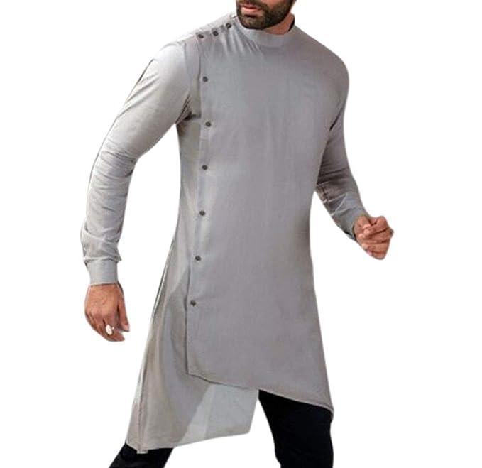 Huateng Traje para Hombre Disfraces Largo Kurta árabe Hombre ...