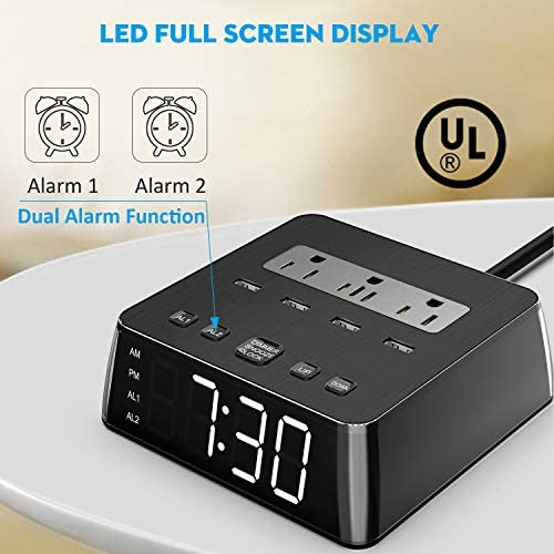 Alarm Clock Surge Protector with Headphone Stand JACKYLED Power Strip Total 4.8A USB Ports LED Full Screen with 6.5ft Cord 4 Dimmer Brightness for Smart Phone Laptop UL Approval Black