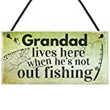 MAIYUAN Grandad Lives Here Carp Fishing Hanging Sign Fathers Day Dad Gone Fishing Gifts 10' X 5'