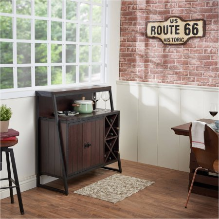 Furniture of America Anderson Industrial Multi-Storage Dining Server, Walnut