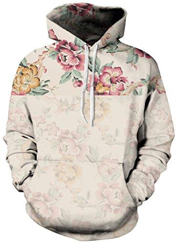 FLYCHEN Men's Digital Print Sweatshirts Hooded Top Galaxy Pattern Hoodie S/M Vintage - Pattern Digital