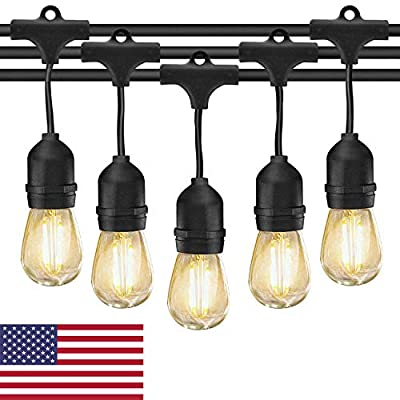 Outdoor String Lights LED Patio Edison Bulb String Lights, 49ft Heavy Duty Commercial Waterproof Dimmable Patio String Lights, 15 x E26 Sockets, 1.5W Vintage Bulbs(1 Spare) for Backyard Porch Garden