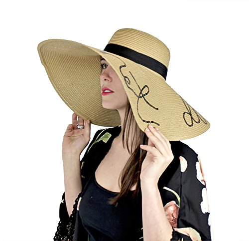 A&O International Sequined Large Floppy Straw Hat, Do Not Disturb, (Sequined Straw)