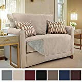 Gorilla Grip Original Slip-Resistant Furniture Protector, Suede-Like Material, Slip Reducing Backing, Two 2'' Thick Straps, Perfect for Kids, Dogs, Cats, Pets, Sofa, and Couch (Loveseat: Taupe)