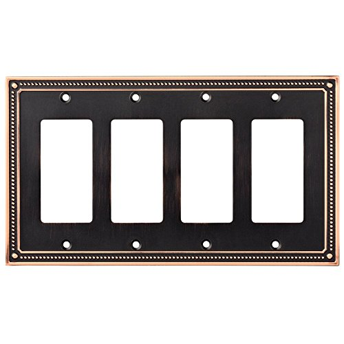 Franklin Brass W35069-VBC-C Classic Beaded Quad Decorator Wall Plate / Switch Plate / Cover, Bronze with Copper Highlights by Franklin Brass