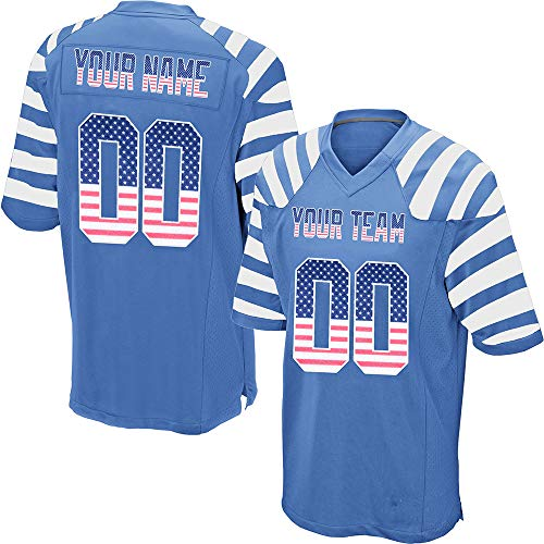 (Custom Men's Striped Mesh Football Game Jersey Stitched Team Name and Your Numbers,Light Blue-USA Flag Size S)