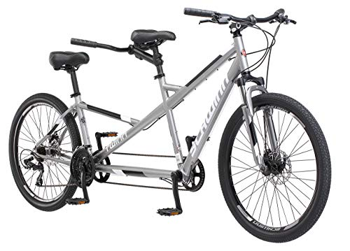 Schwinn Twinn Tandem Bicycle, Featuring Low Step-Through and Lightweight Aluminum Frame with Mechanical Disc Brakes, 26-Inch Wheels, Large Frame Size, Grey (Renewed)