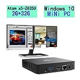 Z83-W10 Mini PC Windows 10, 2GB/32GB Intel Atom x5-Z8350(2M Cache, up to 1.92 GHz), with HDMI and VGA Ports, Graphics 400,4K/1000M LAN/2.4G+5.8G WIFI/BT4.0, Support Windows 10