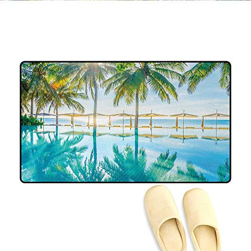 - Bath Mat,Pool by The Beach with Lights Seasonal Eden Hot Sunny Humid Coastal Bay Photo,Doormat Outside,Green Blue,Size:32