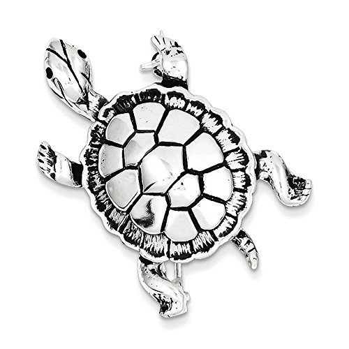 Lex & Lu Sterling Silver Antiqued Turtle Pin-Prime