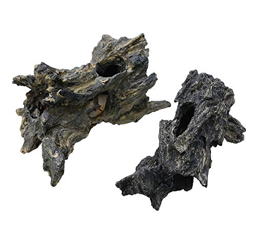 - corisrx Aquarium Malaysian Driftwood Imitation Ornament Small - Tree Trunk Long Decor Fish Tank Wood (S+L Set)