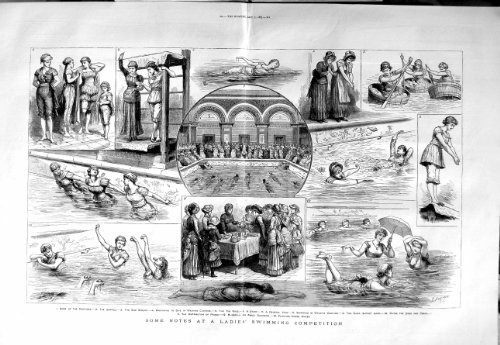 1883 LADIES SWIMMING COMPETITION COSTUMES SPORT PRINT ()