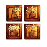 Cyber Monday Deal Black Friday Deal Phoenix Decor - Happiness 4 Panels Contemporary Art 100% Hand-Painted Flowers Artwork Framed Floral Oil Paintings on Canvas Wall Art Decor Home Decorations