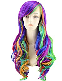 """25"""" Women's Long Anime Costume Curly Wavy Rainbow Hair Cosplay Party Wig +Wig Cap (Multi-Color)"""