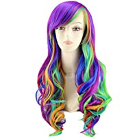 "25"" Women's Long Anime Costume Curly Wavy Rainbow Hair Cosplay Party Wig +Wig..."