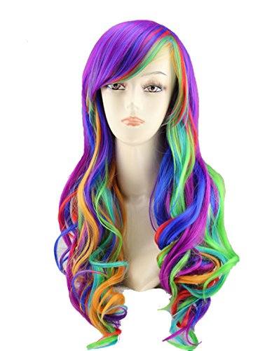 "Price comparison product image 25"" Women's Long Anime Costume Curly Wavy Rainbow Hair Cosplay Party Wig +Wig Cap (Multi-Color)"