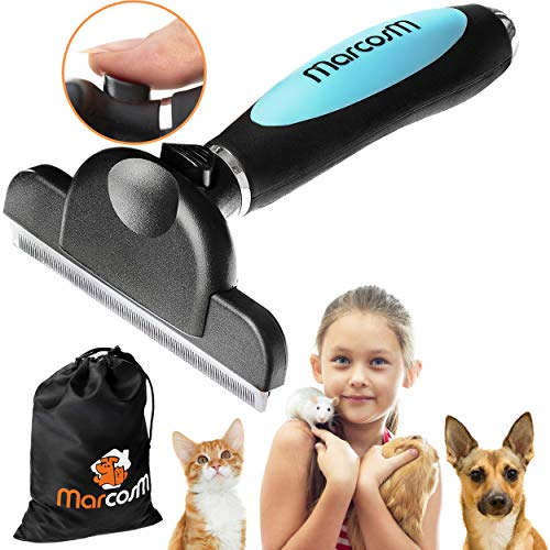 MarcosM Dog Brushes for Shedding Professional Deshedding Tool for Dogs and Cats with Blade and Fur Ejector Button and Drawstring Storage Pouch (L, Blue)