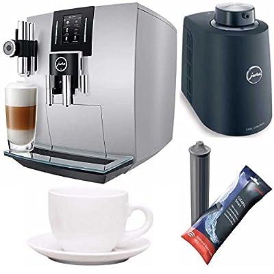 Jura J6 Automatic Coffee Machine (Brilliant Silver) + Free Jura Chilled Milk Container, Jura Smart Filter Cart