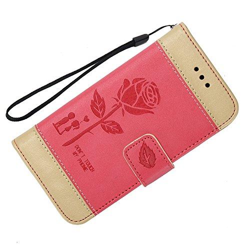 Olyee Galaxy J330 hülle, Leder PU Cover Magnet Flip Hülle Schutzhülle Kartensteckplätzen und Ständer Handytasche für handyhülle Galaxy J330 Red