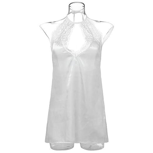 Ropa interior erótica, internet_Sexy vestido blanco/pijama, Halter Sujetador/Vestido de Encaje De Encaje Pecho Abierto, Disfraz de Criada Vestido Mini Corto ...