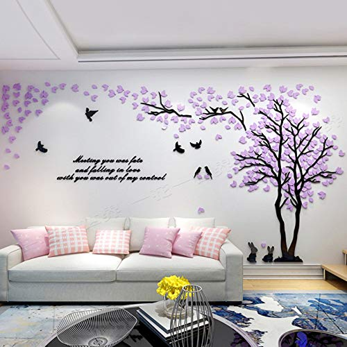 (Unitendo Acrylic 3D Wall Stickers Wall Decal Easy to Install &Apply DIY Decor Sticker Home Art Decor. Purple-Right. )