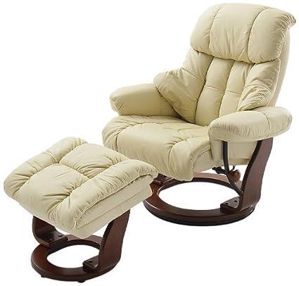 Fauteuil Relax Creme.Robas Lund Calgary Fauteuil Relax Avec Tabouret Cuir Beige Noix 91 X 90 X 104 Cm 64023ck5