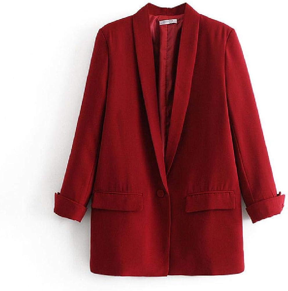 Rojo Negro Blazers Trajes Mujeres Invierno Otoño RopaElegante Chaquetas con un Solo botón Abrigo Oficina Damas Blazer