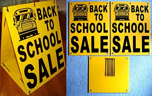 "1 Pc Important Unique Back to School Sale Sign Store Message Retail Sold Business Declare Outdoor Banners Display Signage Real Estate Signs Kit Banner Pricing Plastic Yard Size 18""x24"" Sandwich Board"