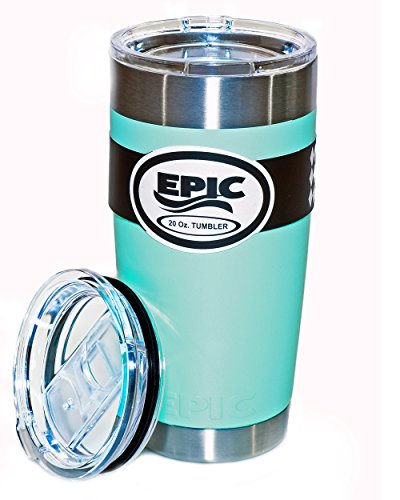 EPIC Stainless Steel Vacuum Insulated Travel Tumbler Thermal Coffee Cup and Mug includes 2 BPA Free Lids (Sliding and Regular), 30 oz - Seafoam