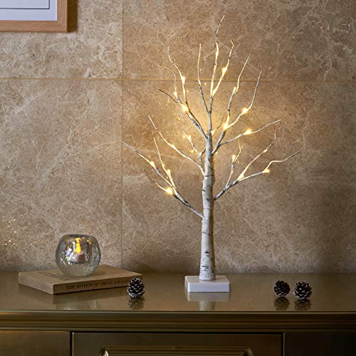 EAMBRITE 2FT 24LT Warm White LED Battery Operated Birch Tree Light Tabletop Tree Light Jewelry Holder Decor for Home Party Wedding (Tabletop Christmas Lighted Tree)
