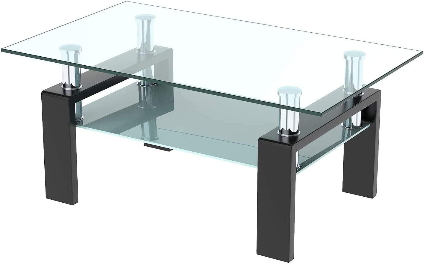 HCWORLD Black Rectangle Glass Side Coffee Table