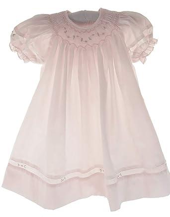 061f47598 Amazon.com: Girls Pink Smocked Dress Set Bonnet Portrait Bishop Day ...