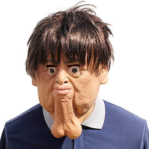 StarTreene Halloween Double Chin Men Scary Latex Face Mask Beige One Size ()