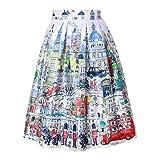 Dasbayla Women's 3D Printed A-line Skirt Pleated Midi Dress One Size