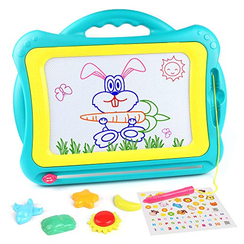 (Tomons Magnetic Drawing Board, Colorful Erasable Magnet Writing Sketching Pad, Assorted Colors Painting Sketching Pad for Toddler Boy Girl Kids Skill Development(Green-Yellow))