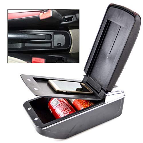XUKEY Dual Layer Car Armrest Fits Toyota bB Yaris Vitz Echo Scion xB Arm Rest Storage Box Black Leather