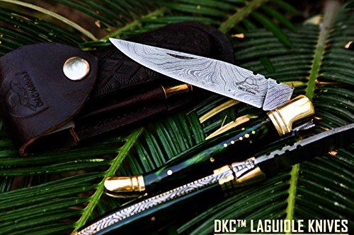 "DKC-62-GR GREEN PRINCE Laguiole Damascus Steel Folding Pocket Knife 4"" Folded 7.25"" Open 3oz 3.5 "" Blade High Class Looks Incredible DKC Knives"