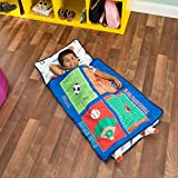 EVERYDAY KIDS Toddler Nap Mat with Removable Pillow -Varsity Sports- Carry Handle with Fastening Straps Closure, Rollup Design, Soft Microfiber for Preschool, Daycare, Sleeping Bag - Ages 2-4 Years