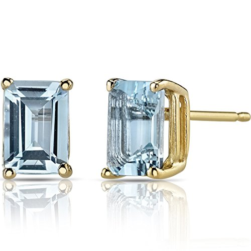 14K Yellow Gold Emerald Cut 1.75 Carats Aquamarine Stud Earrings 14k Aquamarine Stud