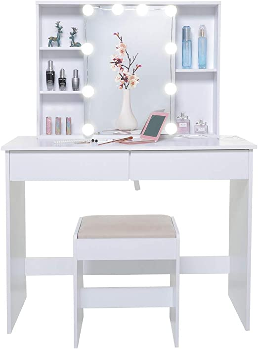 Amazon Com Usikey Large Vanity Set With 1 Slide Rail Mirror 10 Light Bulbs Makeup Tables With 5 Shelves Vanity Dressing Table With 2 Large Drawers And 1 Cushioned Stool For Bedroom