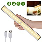 Motion Sensor LED Closet Light - 18 LEDs USB Rechargeable Wireless Under Cabinet Light for Closet,Cabinet,Cupboard,Wardrobe,Counter,Drawer,Stick on Anywhere Magnetic LED Night Light,Warm White Light