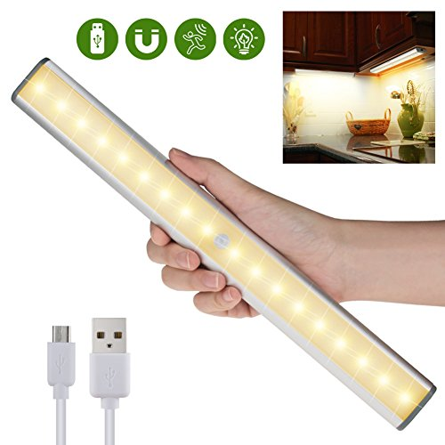 Wide Counter High Cabinet (Motion Sensor LED Closet Light - 18 LEDs USB Rechargeable Wireless Under Cabinet Light for Closet,Cabinet,Cupboard,Wardrobe,Counter,Drawer,Stick on Anywhere Magnetic LED Night Light,Warm White Light)